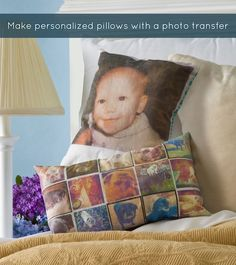 Make personalized pillows with Mod Podge photo transfer medium - I did not know that existed... Sweet!