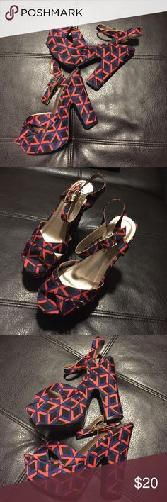 Triangular Wedge Platform Heels These Strappy wedges are a statement piece! Cute pair of Strappy thick heel wedges platform type. Blue black and a coral orange colors. Brand new!! Never got a chance to wear them and need to make room in my closet. Size 6.5 Qupid brand. ❤️ Qupid Shoes Platforms