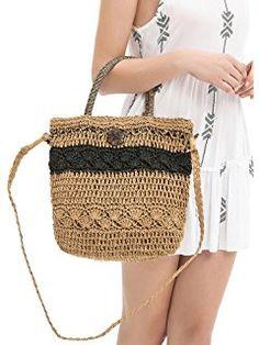 Women's Straw Bag Crochet Tote Drawstring Bucket Bag Cross Body Beach Tote Shoulder Bag by Simple Jumo