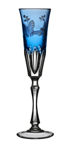 Varga Art Crystal Manufacturing Co. Ltd. - OFFICIAL WEBSITE ~ Springtime Sky Blue Champagne Flute