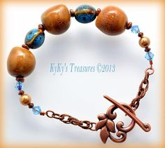 Honey & Teal Blue Porcelain Bead and Copper by KyKysTreasures, $18.00