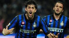 #pazzodimilito Diego Milito of FC Internazionale Milano celebrates after scoring his third goal during the Italian Serie A match against AC Milan