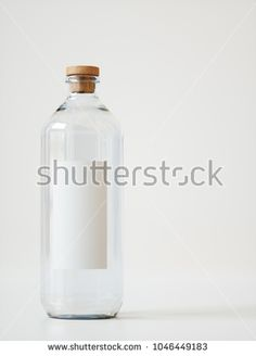 Product Shot Glass Water Bottle with Blank Label - 3D rendering