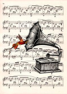 Grammophon mit Noten hinter Glas ein schönes Bild