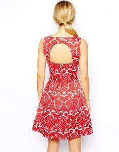 Image 2 ofCloset Skater Dress in Damasque Print
