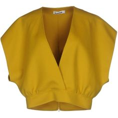 Jil Sander Blouse ($790) ❤ liked on Polyvore featuring tops, blouses, yellow, zip blouse, zipper top, short-sleeve blouse, zip top and short sleeve blouse