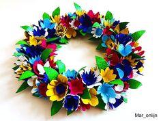 Make Design, Easter Crafts, Diy For Kids, Paper Flowers, Pattern Design, Floral Wreath, Wreaths, Glitter, School