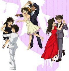 Detective conan love hoe Shinichi and Ran are perfect then there's a playful Kaito and then Heiji and Kazuha well. Ran And Shinichi, Kudo Shinichi, Sherlock Holmes, Detective Conan Ran, Heiji Hattori, Detektif Conan, Detective Conan Wallpapers, Kaito Kuroba, Gosho Aoyama