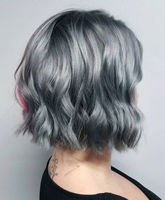 Silver Wavy Bob With Black Roots