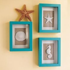 Pretty sea shell shadow boxes, mine were a bit different - I used a variety of shells in each frame and created a scattered beach scene.