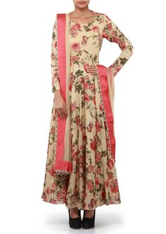 Beige anarkali suit adorn in rose motif print only on Kalki