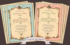 Adult Birthday party invitation. Vintage Birthday invitation. French shabby chic Birthday invitation. Custom printable or printed.