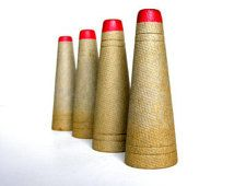 Old Thread Cones Red Tops Natural Color Cardboard Heminway Bartlett Daspun Polyester