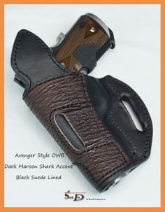 black leather holster with shark skin accent