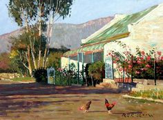 Roelof Rossouw Mini Paintings, Paintings I Love, Love Painting, Landscape Paintings, House Paintings, Landscapes, South Africa Art, Building Painting, African Paintings