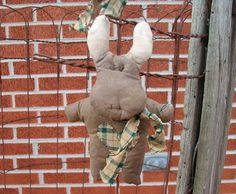 Primitive Moose Doll Ornament  Homespun Scarf by CaneRiverCrafts