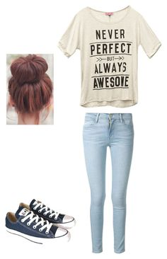 """""""Never perfect but always awesome"""" by mellowpanda on Polyvore featuring Wet Seal, Frame Denim and Converse"""