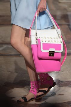 """The Best Shoes, Bags, and Baubles on the 2015 Runways (So Far): You don't have to be a self-proclaimed """"shoe person"""" or """"bag person"""" to appreciate the accessories coming down the Spring 2015 runways. Leather Handbags, Leather Bag, Runway Shoes, Pink Sparkles, Milano Fashion Week, Spring Summer 2015, Satchel, Good Things, Shoulder Bag"""