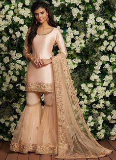 Gharara Suit: Buy Designer Gharara Dress Online in USA, UK, and Canada Light Peach Embroidered Gharara Suit Party Wear Indian Dresses, Pakistani Wedding Outfits, Designer Party Wear Dresses, Indian Fashion Dresses, Dress Indian Style, Indian Designer Outfits, Bridal Outfits, Indian Outfits, Sharara Designs