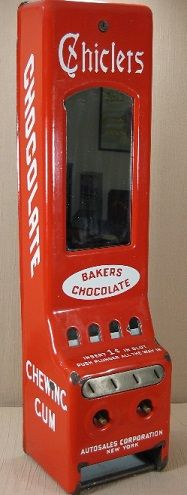 "Autosales. Autosales Vending Corp., New York, NY, c. 1928 or earlier, 32"". Porcelain over steel. Chiclets. Baker's Chocolate. Chewing gum. Vending machine. Small Vintage Vending"