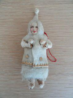 Antique German Cotton Christmas Ornament Child Wearing Snowsuit Dresden Trim  