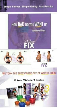 21 Day Fix is THE program to help you lose up to 15 pounds in 21 days. This is Beachbody's first program to place equal emphasis on the nutrition and fitness component. Each workout is approximately 30 minutes a day, 7 days a week. The unique nutrition plan uses specifically portioned food storage containers that eliminate the guesswork from portion control - no weighing, measuring, or counting calories, carbs or points. Next challenge starts nov 10 http://beachbodycoach.com/leeny15