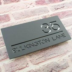 Modern Contemporary House Sign Floating Acrylic Two Colour Rectangular Bespoke Plaque Number and Road Name Hidden Fixings House Plaques, House Number Plaque, Door Number Plaques, Door Numbers, Number Signs For House, House Name Signs, House Names, Home Signs, Metal House Signs