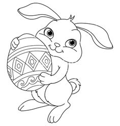Illustration Of Happy Easter Bunny Carrying Egg Coloring Page Vector Art Clipart And Stock Vectors