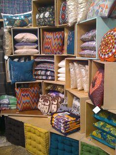 pillow display store display. Visual merchandising. Pillows