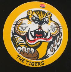 1975 AMPOL Petrol Richmond Coaster Mint Caricature by John Rogers Tigers in Sporting Goods, Sports Trading Cards, Australian Rules (AFL) Cards Caricature, Trading Cards, Coasters, Mint, Tigers, Exercise, Logos, Ejercicio, Picture Cards