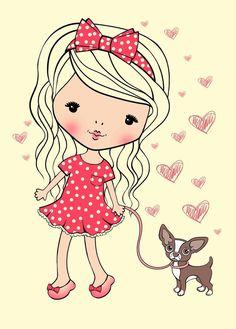 Просмотреть иллюстрацию Little girl with a dog из сообщества русскоязычных художников автора Natali Baulina в стилях: Классика, нарисованная техниками: Компьютерная графика.