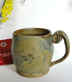 Large Mug, Coffee Mug, Cappucino Mug, Tea Mug, Green, Tan, Turquoise,Ceramic Stoneware,Curly Handle,Office Gift, Birthday Gift$19.99