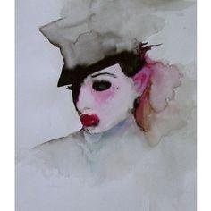 Dita Von Teese, portrait by Marilyn Manson (watercolor)