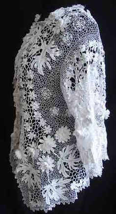 Maria Niforos - Fine Antique Lace, Linens & Textiles : Antique & Vintage Clothing # CL-30 Exquisite Irish Crochet Jacket