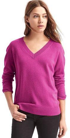 Wool- cashmere blend V-neck sweater. <affiliate link>