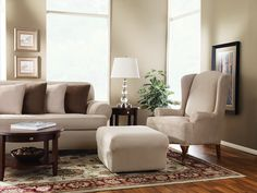 Sure Fit Slipcovers: Restore and enhance the beauty of your wing chair and ottoman.