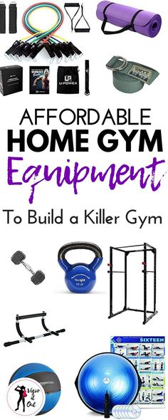 The best affordable home gym equipment ideas created by a personal fitness trainer of 10 years. Use a small space, garage, basement, or shed to create the perfect place to workout at home. Stay motivated to exercise any time with a home workout room you built on a budget. No more excuses! #homegym #homegymideas #homegymequipment #postpartumfitness