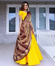 How about reusing an old saree from your mums closet and wearing it as a lehenga dupatta? it is affordable, chic and looks super stylish. Lehenga Saree Design, Lehenga Dupatta, Lehenga Style Saree, Lehnga Dress, Saree Look, Lehenga Designs, Saree Blouse Designs, Sari, Silk Dupatta