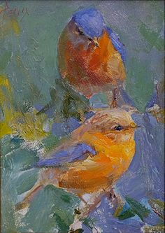 Bluebird Pair by Derek Penix ~ 7 x 5