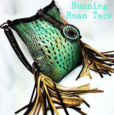 Mint Croc Cross Body Handbag with Double Fringe and Turquoise Buckle by Running Roan Tack
