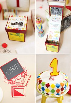 Nostalgic Vintage Toy First Birthday Party with an amazing Jack in the Box invitation!