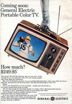 "1965 General Electric's ""Porta-color"" Color Television - Health insurance Retro Advertising, Advertising Design, Vintage Advertisements, Color Television, Vintage Television, Electronics Projects, Ipod Touch, Hi Fi System, Tv Decor"