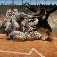 Jackie Robinson steals home past Cleveland Buckeye catcher, Quincy Trouppe by Kadir Nelson