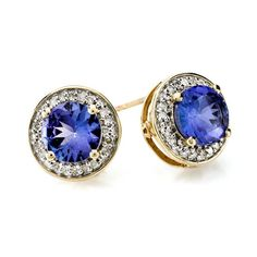 Stud never go out of style. You can dress them up or dress them down. The rich blue color of this tanzanite pair is perfect for an evening out with your love. Our favorite colors to pair them with are white, black, and red. | 1.78ct Round Tanzanite With .11ctw Round White Diamonds 10k Yellow Gold Earrings [Promotional Pin]