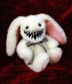 This monstrously adorable Mini Bunny Rabbit monster is one of my latest creations, and would just love to come home with you! Bunny monster is Creepy Toys, Creepy Cute, Scary, Kawaii Plush, Cute Plush, Creepy Stuffed Animals, Little Doll, Cute Toys, Aesthetic Grunge