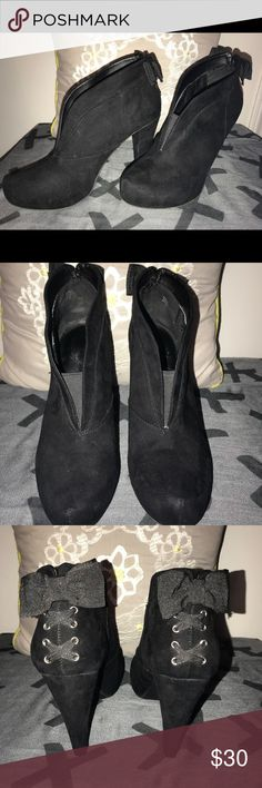 "Guess booties Worn once or twice but never outside. Only in my carpeted office. Excellent condition and crazy cute for fall. 4"" heel. G by Guess Shoes Ankle Boots & Booties"