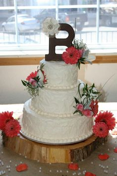 Cake... replace real flowers with burlap and lace ones!!