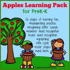 FREE Apples PreK-K Learning Pack #homeschool #preschool #kindergarten | frugalhomeschoolfamily.com