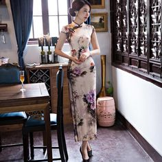 f689ede175a95 2019 NEW women Chinese tradition Slim print flower long cheongsam Vintage  women s Fashion sleeveless chiffion dresses plus size. Subcategory  World  Apparel.