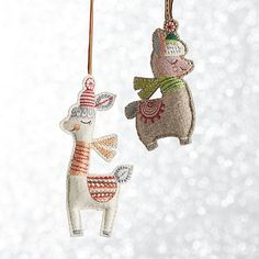 Handcrafted of crisp grey or white felt, these stylish llamas are embroidered with intricately patterned accessories comprising a blanket, scarf and beret. Designer Suzy Ultman brings her charming illustrations to life as holiday ornaments that are inspired by traditional folk art and her travels abroad.